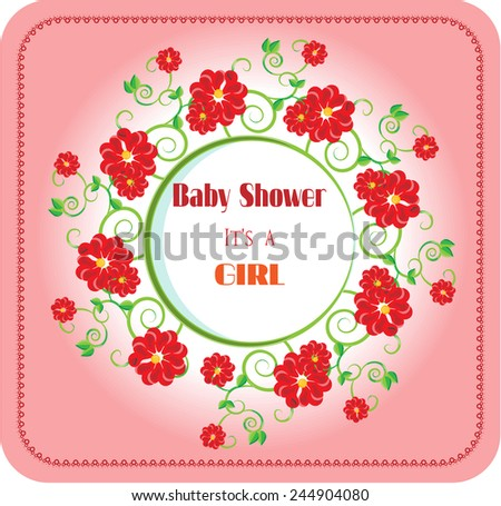 Baby shower - it is a girl, many red flowers, text, bright background - stock vector