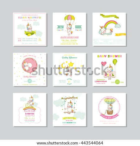Baby Shower or Arrival Baby Card. Unicorn Girl. Vector Set. - stock vector
