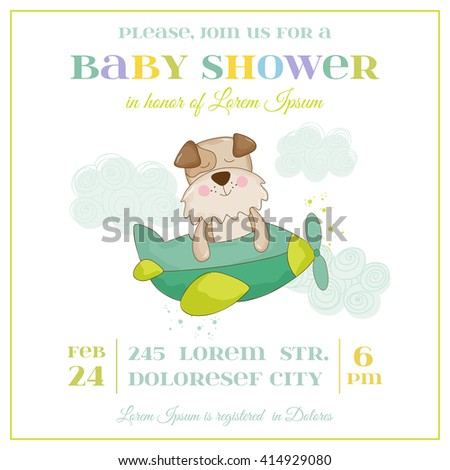 Baby Shower or Arrival Card - Baby Dog in a Plane- in vector - stock vector