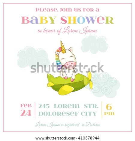 Baby Shower or Arrival Card. Cute Unicorn Girl in vector