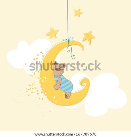 Baby Shower or Arrival Card - Sleeping Baby Bear - in vector - stock vector