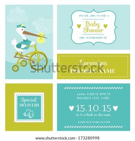 Baby Shower or Arrival Card with Stork - in vector - stock vector