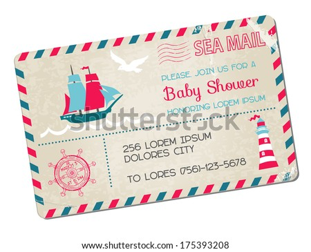 Baby Shower or Arrival Postcard - Nautical Sea Theme - in vector - stock vector