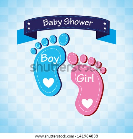 baby shower over blue background vector illustration - stock vector