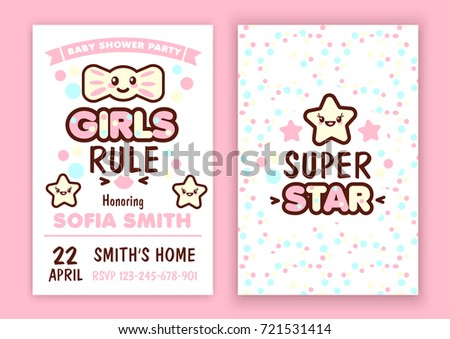 Baby Shower Party Invitation Kawaii Style Vector 721531414 – Baby Shower Party Invitations