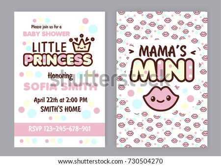Baby shower party invitation kawaii style stock vector 730504270 baby shower party invitation kawaii style pink card to celebrate with family and friends special stopboris Choice Image