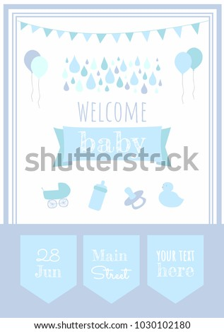 Baby Shower Party Invitation Template Welcome Stock Vector - Baby welcome party invitation templates