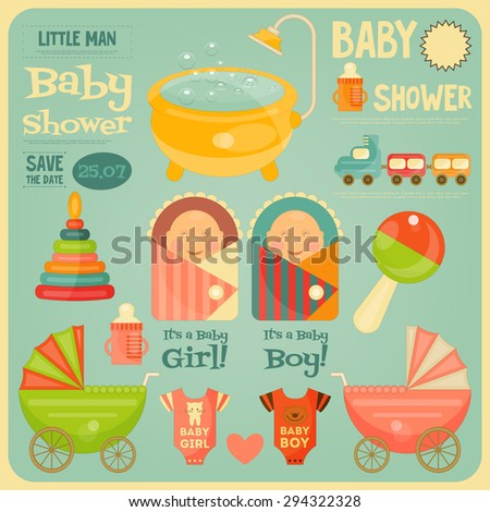 Baby Shower Poster. It's a Boy! It's a Girl! Vector Illustration.  - stock vector