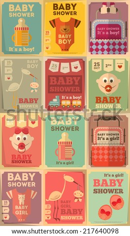 Baby Shower Posters Set. It's a Boy! It's a Girl! Vector Illustration.  - stock vector