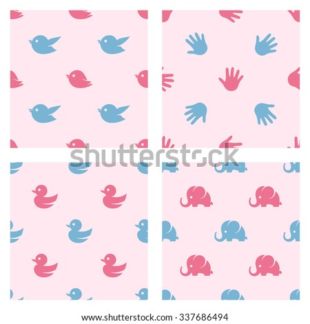 Baby shower related four seamless patterns. Birds, duck, elephant and palm print cartoon vector shapes. Perfect for textile design, prints and other decoration needs. - stock vector