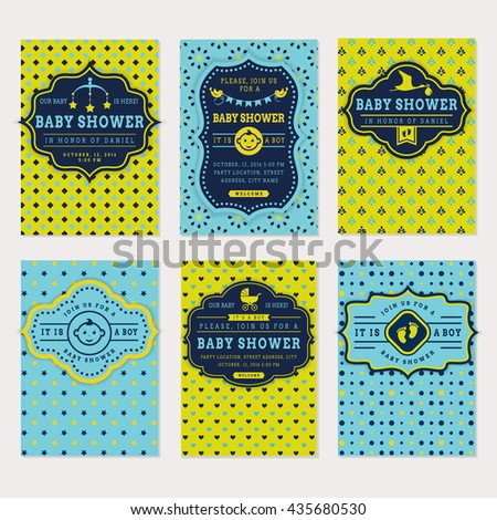 Baby shower set. Cute invitation cards for boy baby shower party. Vector collection on green and blue colors. - stock vector