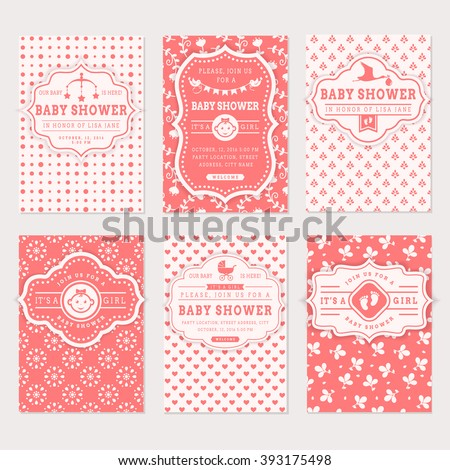 Baby shower set. Cute invitation cards for girl baby shower party. Vector collection on white and pink colors. - stock vector