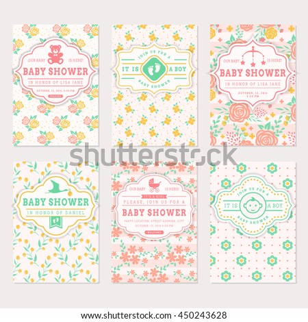 Baby shower set. Cute invitation cards with floral backgrounds. Vector collection in pastel colors. - stock vector