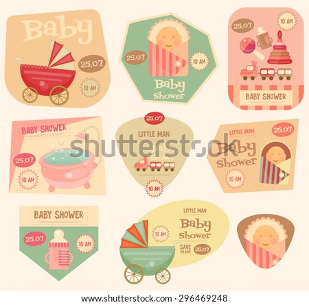 Baby Shower Stickers. Layered File. Vector Illustration.  - stock vector