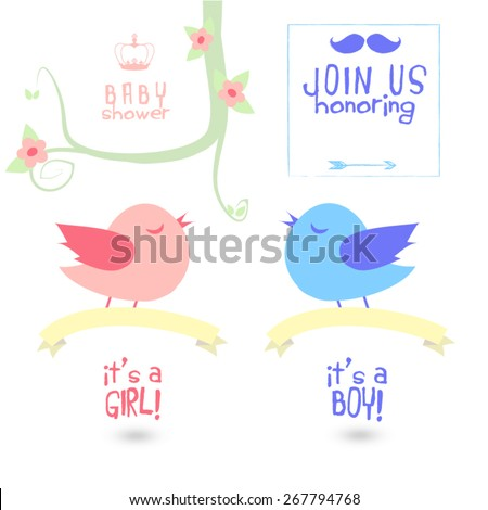 Baby shower vector set, illustration and typography. Birds holding banner flying and singing under a decorative spring branch with flowers, leaves, swirls, crown, mustache, arrow and text messages. - stock vector