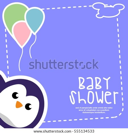baby shower animal character card illustration stock vector