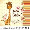 baby shower with cute giraffe - stock vector