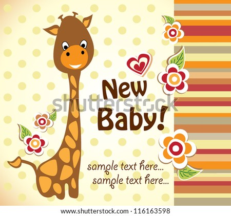baby shower with cute giraffe - stock vector