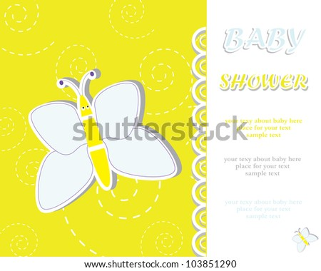 Baby shower with flying butterfly/ Vector illustration