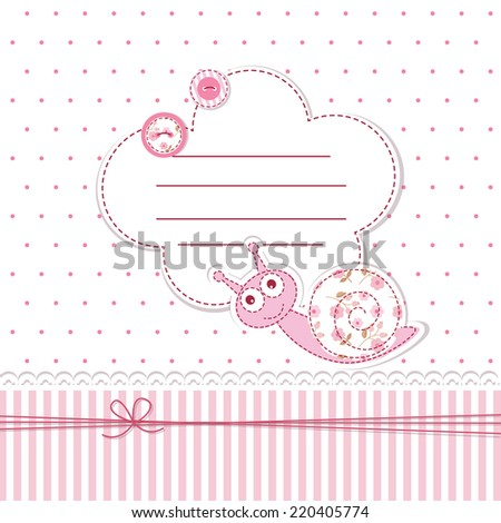 Baby shower with funny snail - stock vector