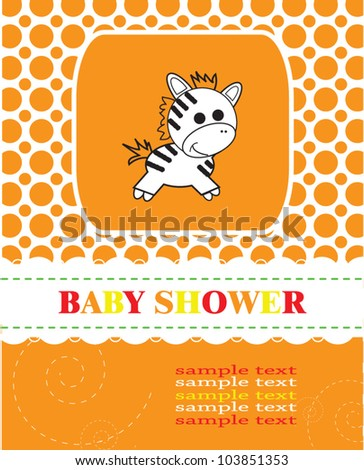 Baby shower with funny zebra/ Vector illustration