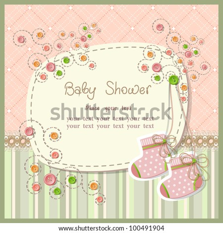 Baby shower with scrapbook elements - stock vector