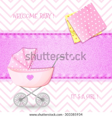 Baby Shower with stroller and swaddling clothes on background denim texture - stock vector