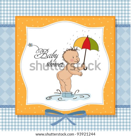 baby showing his butt. baby shower card - stock vector