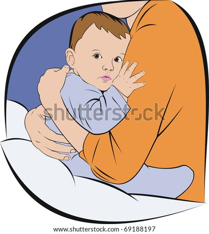baby sitting at mothers hands - stock vector
