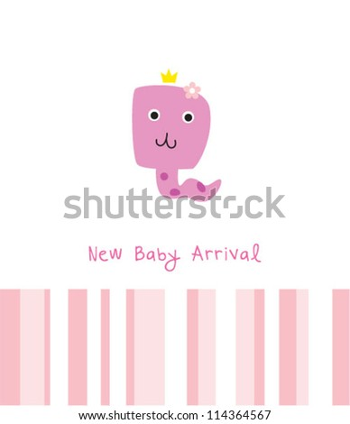 baby snake girl arrival greeting card
