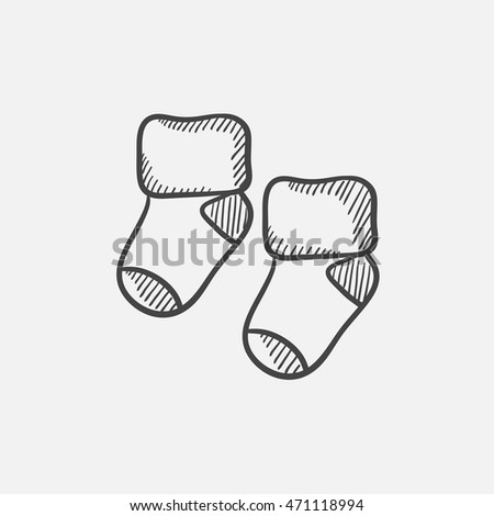 Baby socks sketch icon for web, mobile and infographics. Hand drawn vector isolated icon.
