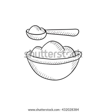 Baby spoon and bowl full of meal vector sketch icon isolated on background. Hand drawn Baby spoon and bowl full of meal icon. Baby spoon and bowl sketch icon for infographic, website or app. - stock vector