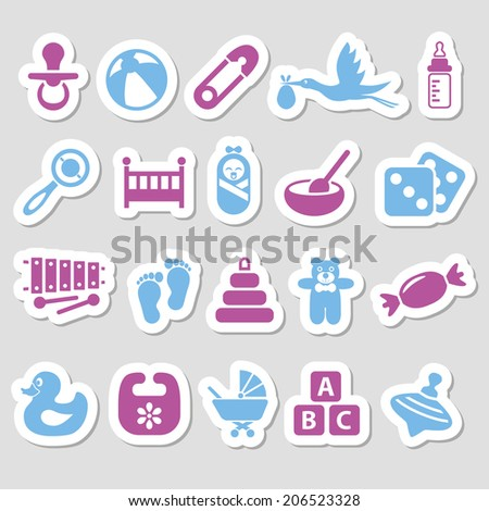 baby stickers - stock vector