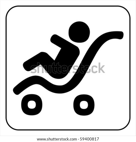 baby stroller icon. Isolated on white, vector