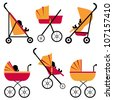 Baby strollers set - stock photo