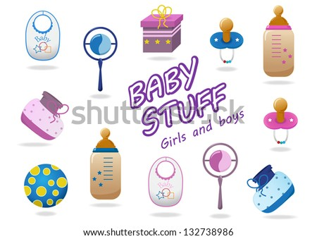 Baby Stuff Icons - Isolated On White Background, Vector Illustration, Graphic Design Editable For Your Design. Logo Symbols