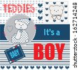 baby teddy boy invitation vector illustration - stock vector