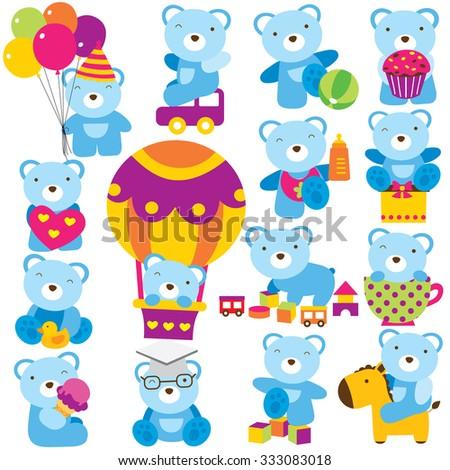 baby teddy clip art set - stock vector