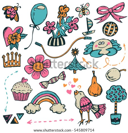 Baby theme. Hand drawn vector set with bird, crab, cake, flowers, toys, beautiful elements. Cute background for children's room, cartoon illustration.