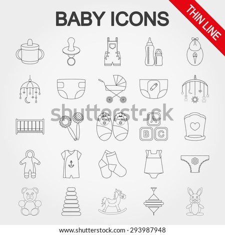 Baby thin line icons set for web and mobile application. Vector illustration on a white background. - stock vector