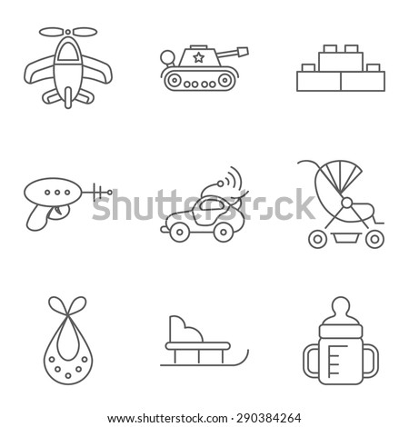 Baby thin line related vector icon for web and mobile applications. Set includes - airplane, tank, building kit, gun, car, carriage, bib, sled, feeding bottle. Logo, pictogram, infographic element. - stock vector