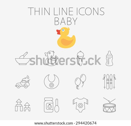 Baby thin line vector icon set for web and mobile applications. Set includes - rattle, baby food, duck, feeding bottle, car, bib, ballon, skiing, blocks, clothes, drum. Pictogram, infographic element. - stock vector