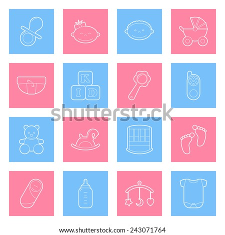 Baby thin lines icons set graphic illustration design - stock vector