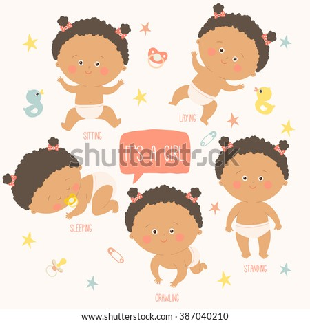 Baby toddler set with babies in diapers. Crawling, sitting, standing, playing, sleeping. African american baby. Vector Illustration on a white background. - stock vector