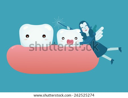 Baby tooth and fairy girl - stock vector