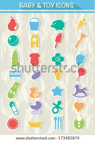 Baby & Toy Icons,Colorful version,vector - stock vector