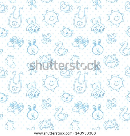 Baby toys cute cartoon set on polka dot seamless pattern - stock vector