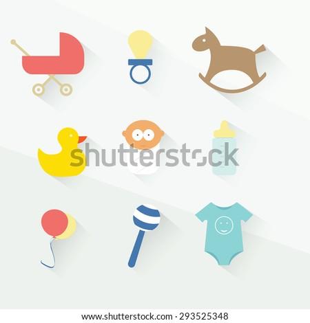 baby toys icon set. flat design - stock vector