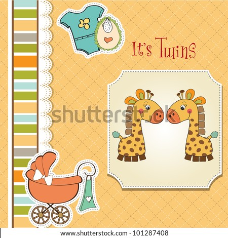 baby twins shower card - stock vector
