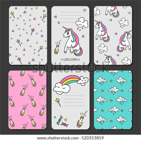Baby Unicorn Tags Baby Banners Scrapbook Stock Vector 520353859